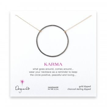large sparkle karma necklace, charcoal sterling silver on gold chain