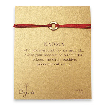 small+karma+hammered+bracelet+gold+dipped+on+red+irish+linen