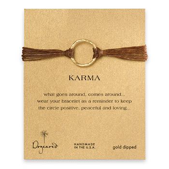 large karma bracelet gold dipped on tobacco irish linen