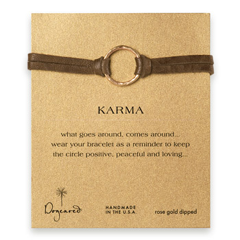 large+karma+bracelet+rose+gold+dipped+on+java+leather