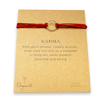 karma+bracelet+gold+dipped+on+red+irish+linen