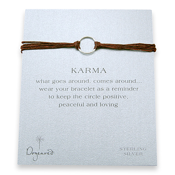 karma bracelet sterling silver on tobacco irish linen