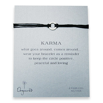 small+karma+hammered+bracelet+sterling+silver+on+black+irish+linen