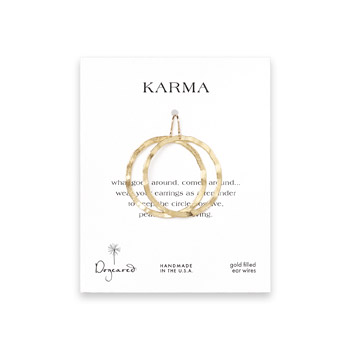 karma textured hoop earrings, gold dipped