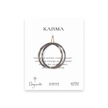 small karma charcoal textured hoop earrings