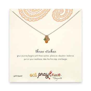 eat pray love three wishes gold dipped multi gem reminder