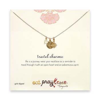 eat pray love gold dipped travel charms necklace