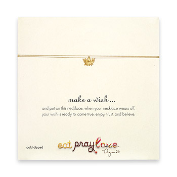 eat pray love make a wish necklace with gold dipped lotus