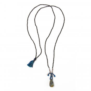 limited edition rainbow pyrite necklace, faceted black spinel gems & charcoal