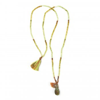 limited edition rainbow pyrite necklace, faceted green garnet gems