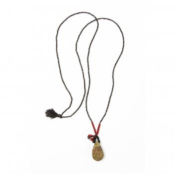 limited edition rainbow pyrite necklace, faceted black spinnel gems