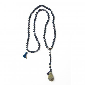 limited edition rainbow pyrite necklace, blue/black freshwater pearls