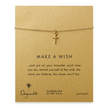 make a wish simple cross bracelet, gold dipped
