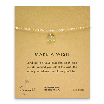 make a wish elephant bracelet, gold dipped