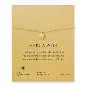 make a wish full heart bracelet, gold dipped