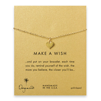 make a wish perfect heart bracelet, gold dipped