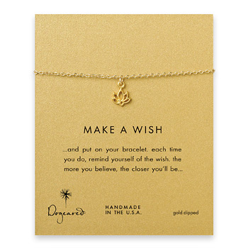 make a wish happy lotus bracelet, gold dipped