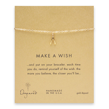 make a wish wishbone bracelet, gold dipped