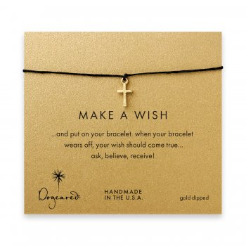 make+a+wish+simple+cross+bracelet+on+black%2C+gold+dipped