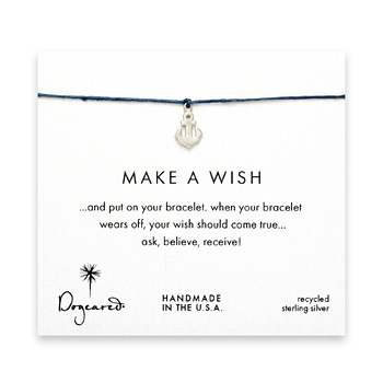 make a wish anchor bracelet on ocean, sterling silver