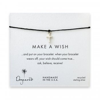 make+a+wish+simple+cross+bracelet+on+black%2C+sterling+silver