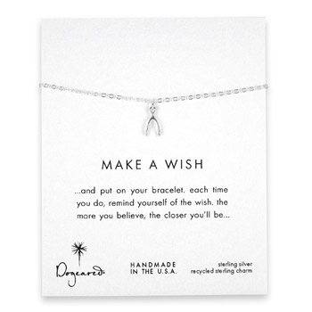 make a wish wishbone sterling silver reminder bracelet