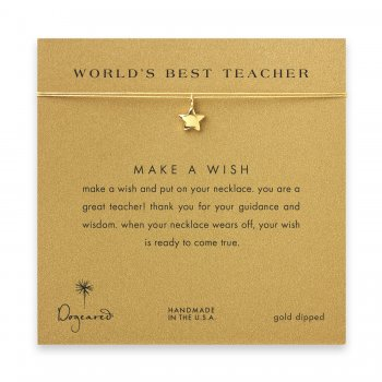 world%27s+best+teacher+star+necklace+on+gold%2C+gold+dipped