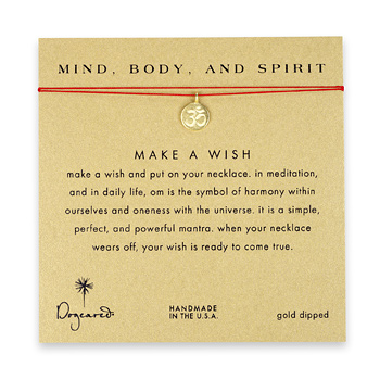 mind body and spirit make a wish necklace with gold dipped om symbol on red