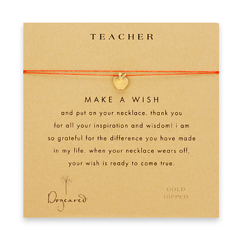 teacher+make+a+wish+necklace+with+gold+dipped+apple+on+red