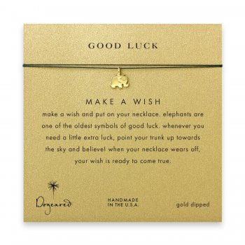 good luck elephant necklace on evergreen, gold dipped
