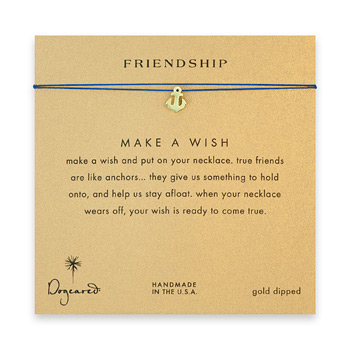 friendship smooth anchor necklace on royal, gold dipped