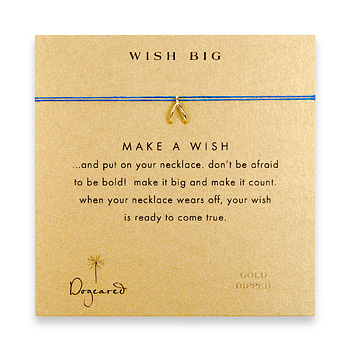 wish big make a wish necklace with gold dipped wishbone on royal