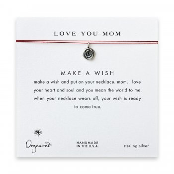 love you mom rose necklace on red, sterling silver