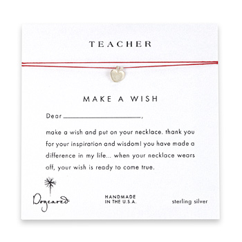teacher+make+a+wish+necklace+with+sterling+silver+apple+on+red