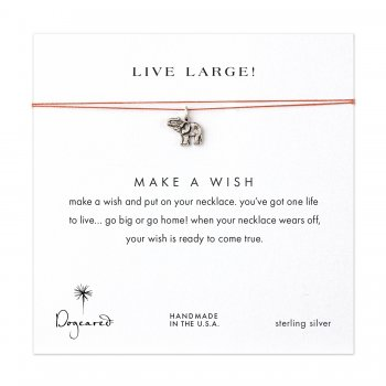 live large! lucky elephant necklace on orange, sterling silver