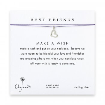 best friends loving heart necklace on purple, sterling silver