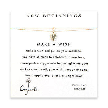 new beginnings make a wish necklace with sterling silver kind heart on creme