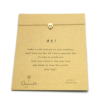 21! reminder necklace with gold dipped skull