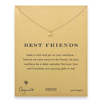 best friends teeny angel wings necklace, gold dipped
