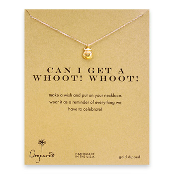 can I get a whoot! Whoot! owl necklace, gold dipped