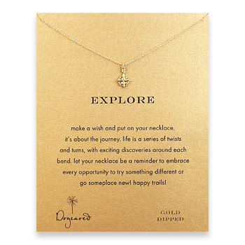 explore compass necklace, gold dipped
