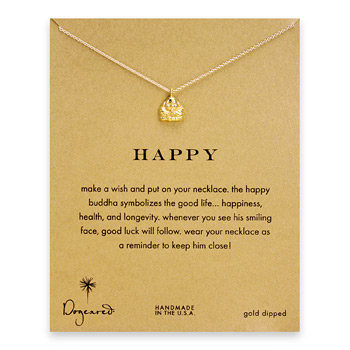 happy buddha necklace, gold dipped