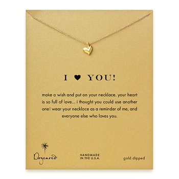 I (heart) you full heart necklace, gold dipped