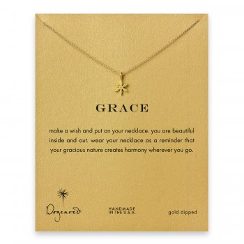 grace star flower necklace, gold dipped