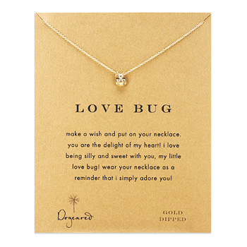 love bug ladybug necklace, gold dipped