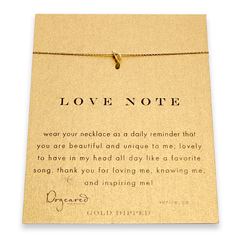 love note reminder necklace with gold dipped music note