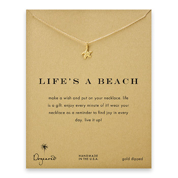 life%27s+a+beach+starfish+necklace%2C+gold+dipped