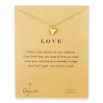 love reminder necklace with gold dipped mini stone heart