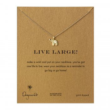 live large! lucky elephant necklace, gold dipped