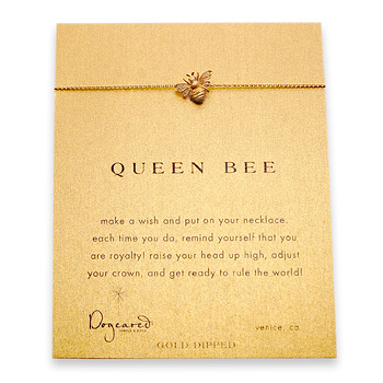 queen bee reminder necklace with gold dipped bee